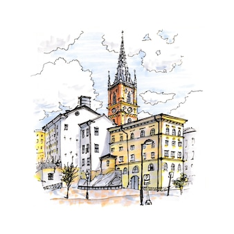 Esboço em aquarela de riddarholmen, gamla stan, na cidade velha de estocolmo, capital da suécia