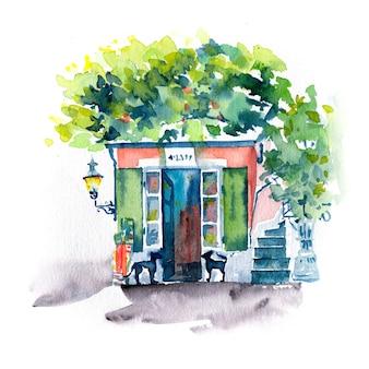 Esboço em aquarela de rua aconchegante no centro histórico de zurique, na suíça