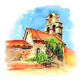 Esboço em aquarela de santa maria em punta, a igreja mais antiga da cidade montenegrina de budva, montenegro