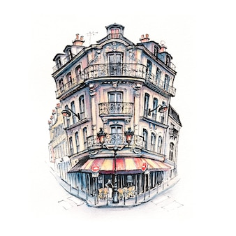 Esboço em aquarela de típica casa parisain com café e lanternas, paris, frança.