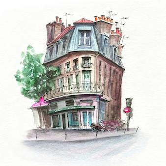 Esboço em aquarela de típica rua parisiense, paris, frança.