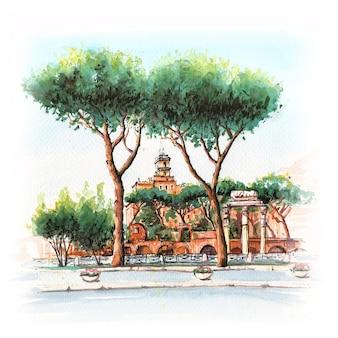 Esboço em aquarela de torre típica romana, ruínas e pinheiros mansos na cidade velha de roma, itália