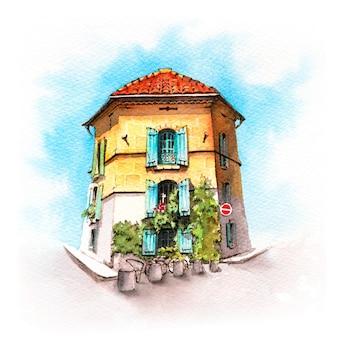 Esboço em aquarela de uma típica casa provençal em arles, provence, frança