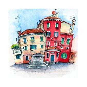 Esboço em aquarela de veneza, itália.