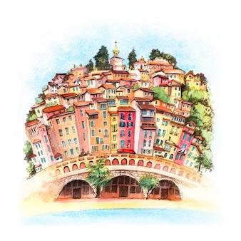 Esboço em aquarela do ensolarado menton, riviera francesa, frança