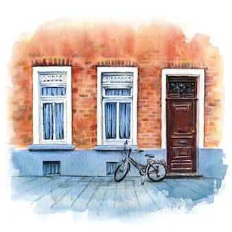Esboço urbano em aquarela de casa de tijolos com porta, byke e janelas bruges, bélgica