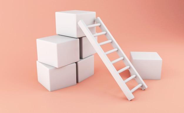 Escada 3d. conceito de negócios.