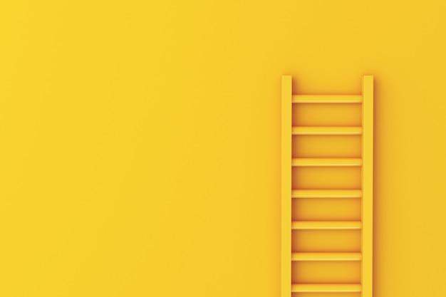 Escada 3d no fundo da parede amarela