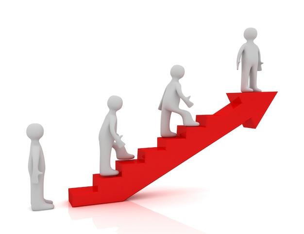 Escada 3d para o conceito de sucesso