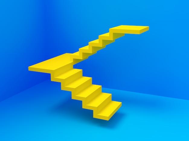 Escada amarela na sala de desfoque
