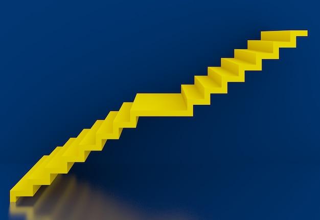 Escada amarela no interior do fundo azul, 3d