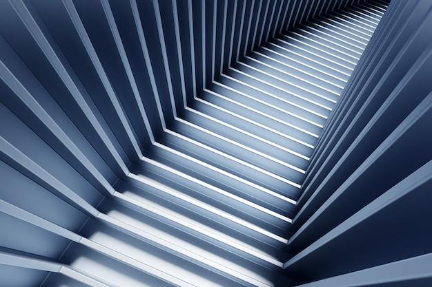 Escada ascendente escura de ilustração 3d desce. conceito criativo de crescimento, progresso e realização de negócios