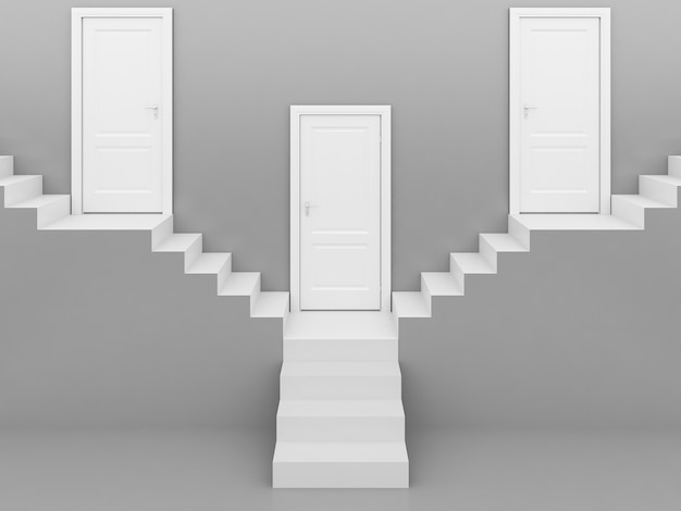 Escada branca com porta branca em cinza, fundo, renderização em 3d