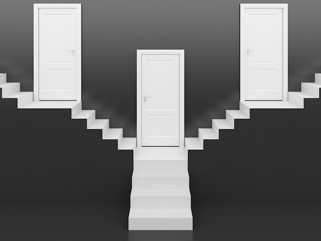Escada branca com porta branca em fundo preto, renderização em 3d