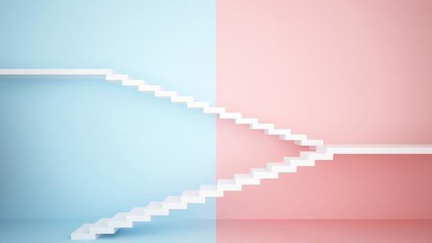 Escada branca em fundo rosa e azul