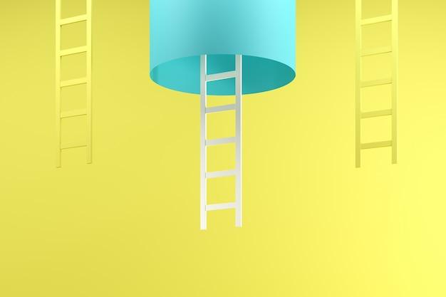 Escada branca pendurada no interior do tubo azul entre duas escadas amarelas no azul