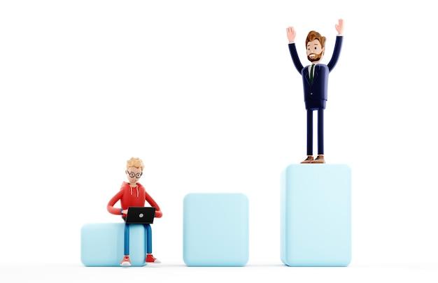 Escada de carreira de personagem de desenho animado, conceito de crescimento de negócios