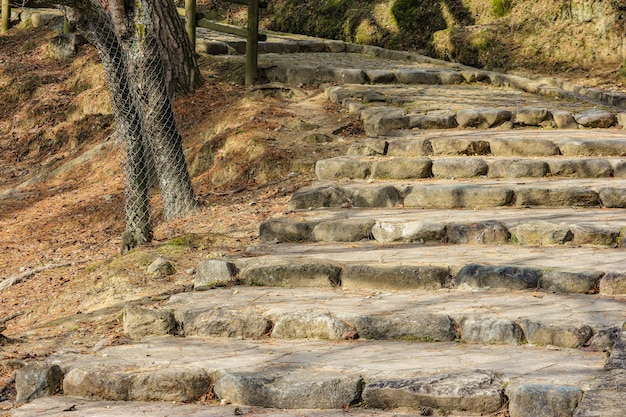 Escada de pedra envelhecida natural japonesa na estação do outono no parque nacional de nara.