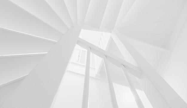 Escada em preto e branco em casa vazia