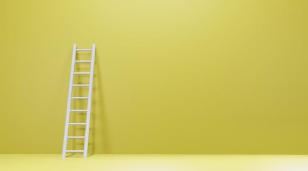 Escada encostada na parede amarela.