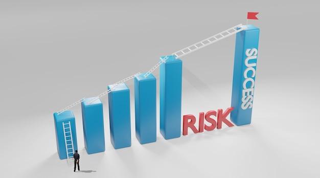 Escada longa para o gráfico de barras mais alto. conceito de risco e sucesso empresarial, renderização em 3d