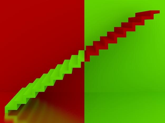 Escada verde em fundo vermelho