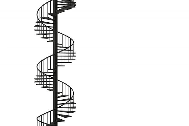 Escadaria espiral com conceitos mínimos, rendição 3d.
