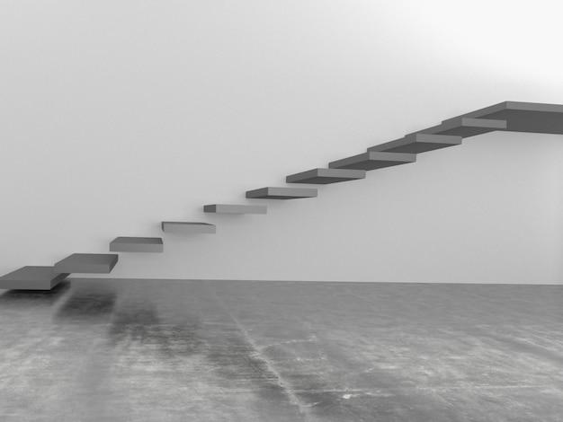 Escadas abstratas no interior, renderização em 3d