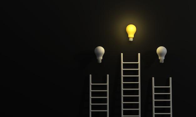 Escadas alcançando uma lâmpada em um conceito de inspiração de inicialização de ideia de fundo preto minimalista