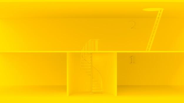 Escadas amarelas com características diferentes.