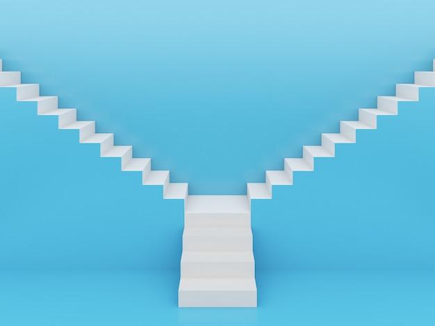Escadas brancas em azul, renderização em 3d
