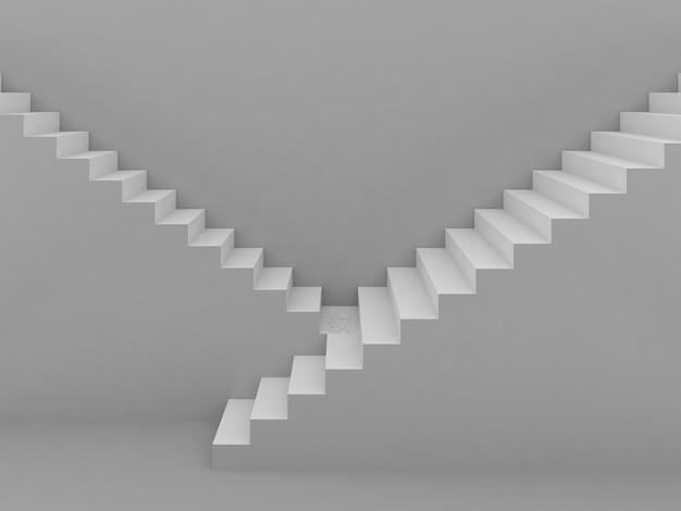 Escadas brancas em cinza, renderização em 3d