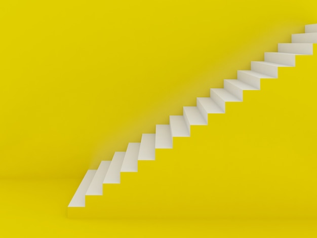 Escadas brancas em fundo amarelo, renderização em 3d