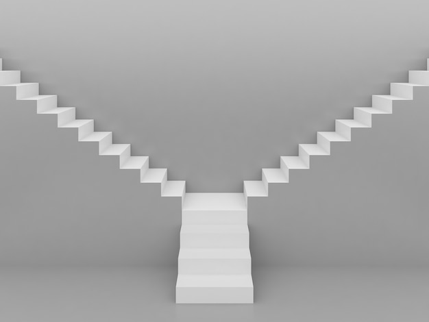 Escadas brancas em fundo cinza, renderização em 3d