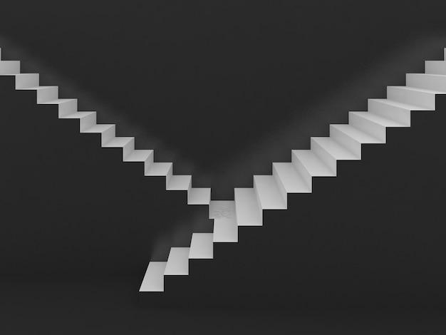 Escadas brancas em fundo preto, renderização em 3d