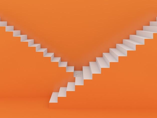Escadas brancas em laranja, renderização em 3d