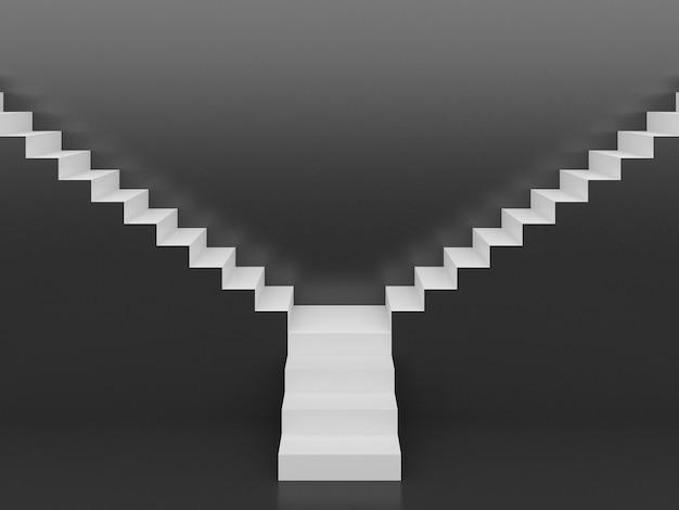 Escadas brancas em preto, renderização em 3d