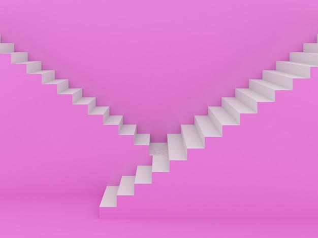 Escadas brancas em rosa, renderização em 3d