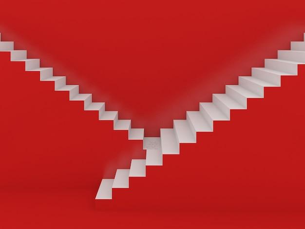 Escadas brancas em vermelho, renderização em 3d