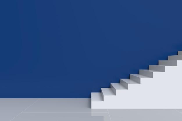 Escadas brancas modernas com fundo azul da parede do espaço da cópia do cimento.