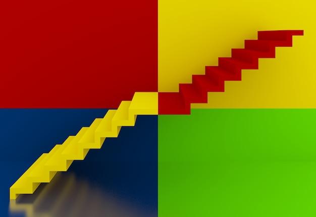 Escadas coloridas no interior, 3d
