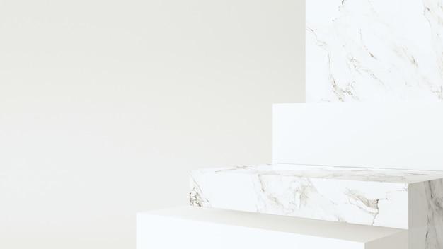 Escadas de mármore para apresentação do produto, design minimalista moderno