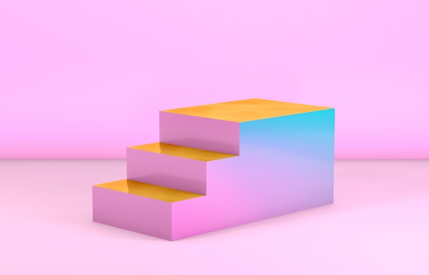 Escadas de moda beleza para exposição de produtos cosméticos. renderização em 3d.