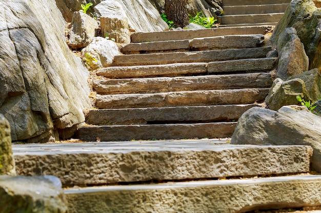 Escadas de pedra velhas bonitas da pedra pisa no parque do verão