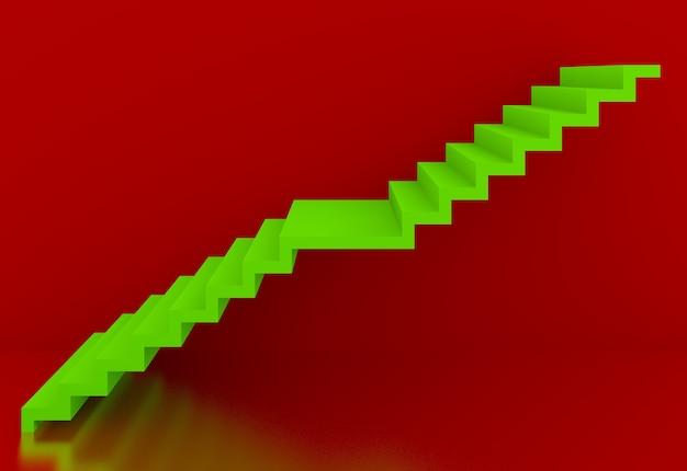 Escadas verdes no interior de fundo vermelho, 3d