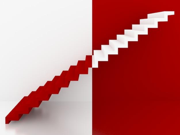 Escadas vermelhas e brancas no interior, 3d