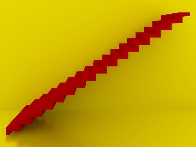 Escadas vermelhas no interior do fundo amarelo, 3d