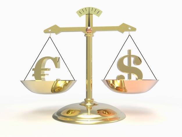 Escala com o símbolo da moeda