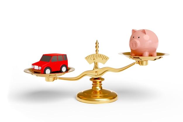 Escala com um cofrinho e um carro isolado na superfície branca. conceito de economia.