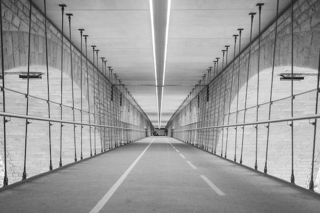 Escala de cinza de um túnel cercado por luzes durante o dia
